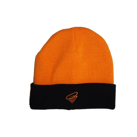 Orange winter hat with black brim