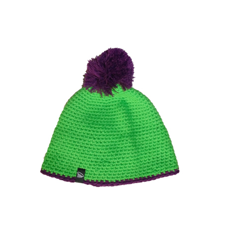 Winter pompon hat with contrasting stripe