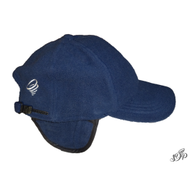 Navy winter hat with peak and earflaps