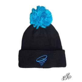 Black winter hat with pompon