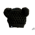 Kids winter black hat with two pompoms
