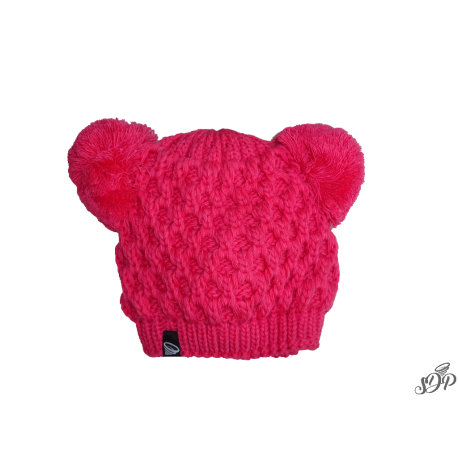 Kids winter pink hat with two pompoms