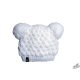 Kids winter white hat with two pompoms
