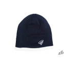 Navy beanie with white contrasting border