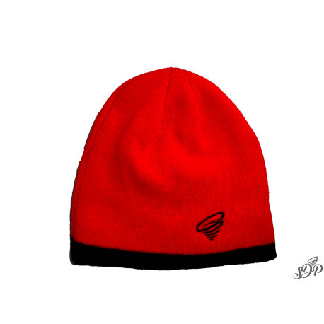 Red beanie with black contrasting border