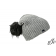 Blue winter hat with large pompon