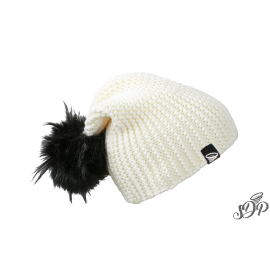 White winter hat with large pompon