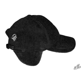 Black winter hat with peak and earflaps