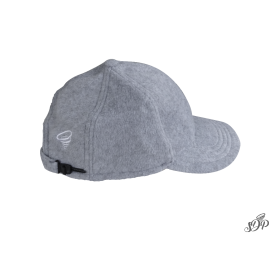 Grey winter hat with peak and earflaps