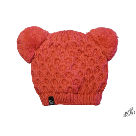 Kids winter coral hat with two pompoms