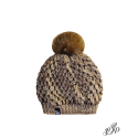 Brown beanie with pompon