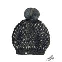 Charcoal beanie with pompon