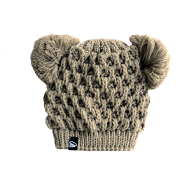 Kids winter beige hat with two pompoms