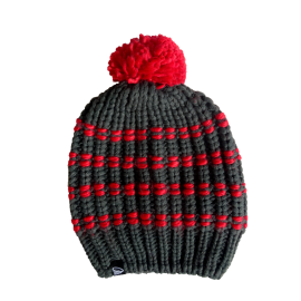 Striped winter hat with pompon