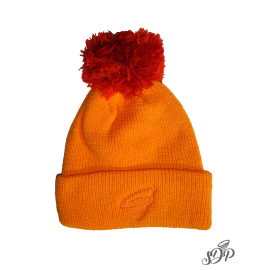 Orange winter hat with pompon