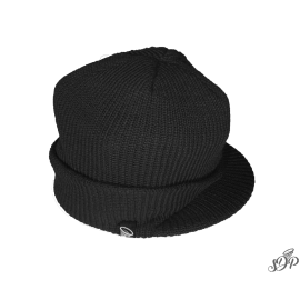 Black winter hat with peak