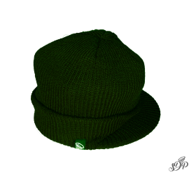 Dark green winter hat with peak