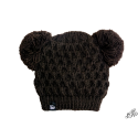 Kids winter brown hat with two pompoms
