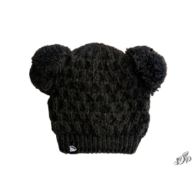 Kids winter dark grey hat with two pompoms
