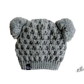 Kids winter grey hat with two pompoms