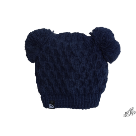 Kids winter navy hat with two pompoms
