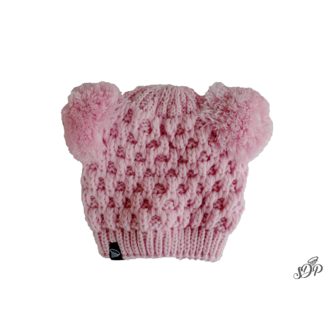 Kids winter light pink hat with two pompoms