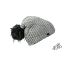 Grey winter hat with large pompon