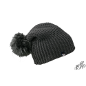 Black winter hat with large pompon