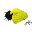 Lime green winter hat with large pompon